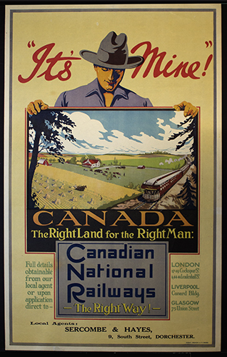 """<span id=""""docs-internal-guid-f989058c-2377-29a6-1b6f-aff5d4190453""""><span>An image of </span><em>&ldquo;It&rsquo;s Mine!&rdquo; Canada: The Right Land for the Right Man: Canadian National Railways: The Right Way!</em><span>&nbsp;by Canadian National Railway</span></span>"""