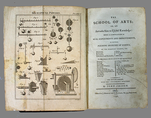"""<span id=""""docs-internal-guid-f989058c-2832-1785-f97f-a824625d1e59""""><span>An image of </span><em>The School of Arts, or, An Introduction to Useful Knowledge: Being a Compilation of Real Experiments and Improvements, in Several Pleasing Branches of Science</em><span> by John Imison</span></span>"""