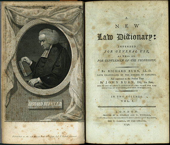 An image of <em>A New Law Dictionary: Intended for General Use, as Well as for Gentlemen of the Profession</em> by Richard Burn