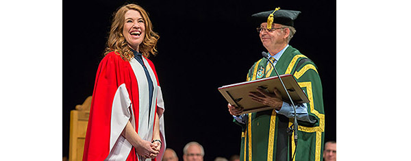 Image of 20th Chancellor Ralph Young and Olympian Clara Hughes