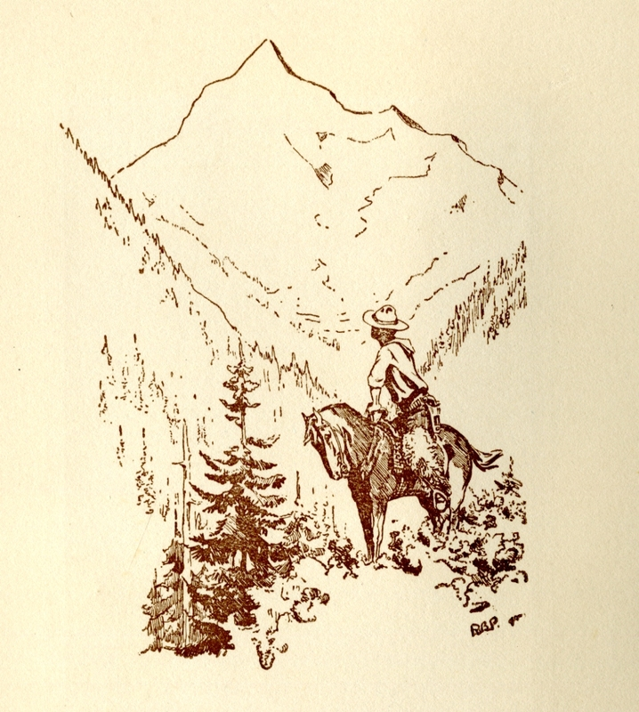 """Steele Collection MS  2008.2.1.4 1.4 Family Scrapbook 8 Sketch by Robert Baden Powell, """"Rider in the Mountains""""<br />"""