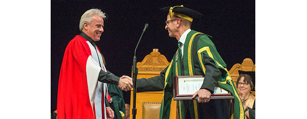 Image of 21st Chancellor Douglas R. Stollery and Science Commentator Bob McDonald