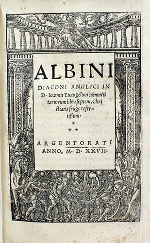 "<span id=""docs-internal-guid-f989058c-239c-e358-6db1-f7976ed97839""><span>An image of </span><em>Albini diaconi Anglici in D. Ioannis Evangelion commentariorum libri septem, Christiana fruge refertissimi</em><span> by Flaccus Albinus Alcuinus</span></span>"