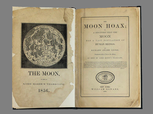"""<span id=""""docs-internal-guid-f989058c-2854-0db4-3514-5be326bad965""""><span>An image of </span><em>The Moon Hoax; Or, a Discovery That the Moon Has a Vast Population of Human Beings</em><span> by Richard Adams Locke</span></span>"""