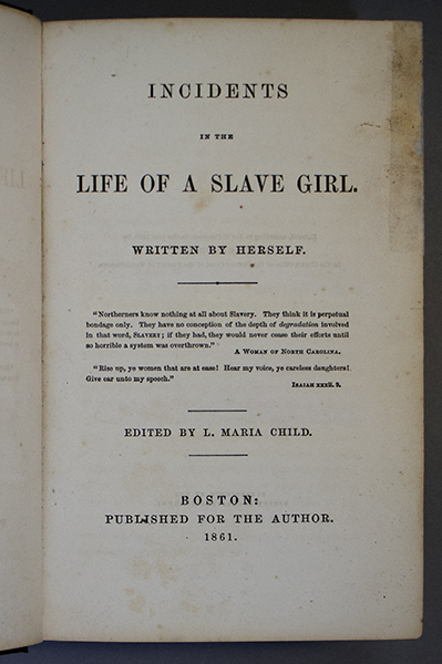 An image of&nbsp;<em>Incidents in the Life of a Slave Girl</em> by Linda Brent (Harriet Ann Jacobs)
