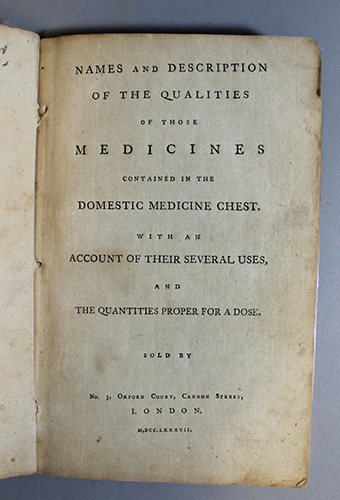 """<span id=""""docs-internal-guid-f989058c-237a-d280-0502-a8109c250405""""><span>An image of </span><em>Names and Description of the Qualities of those Medicines Contained in the Domestic Medicine Chest. With an Account of Their Several Uses, and the Quantities Proper for a Dose</em></span>"""