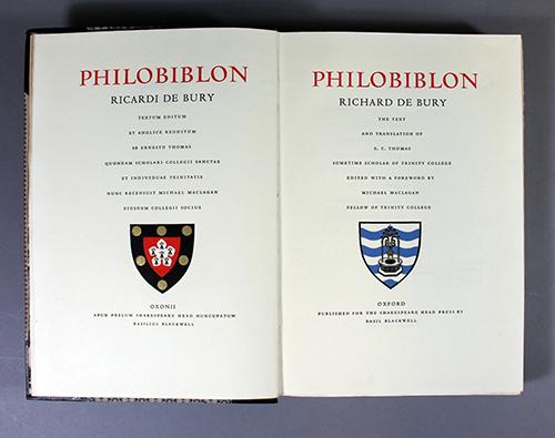 "<span id=""docs-internal-guid-f989058c-2830-59b6-5084-7d38430f728e""><span>An image of </span><em>Philobiblon, the Text and Translations of E.C.</em><span> by Richard de Bury</span></span>"