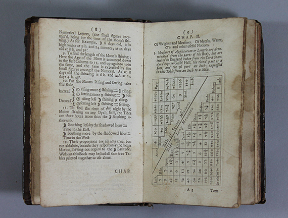 """An image of&nbsp;<em><span id=""""docs-internal-guid-0e0f9749-185d-1095-e19d-47a094bb0fb5"""">A Mathematical Compendium; or Useful Practices in Arithmetick, Geometry, and Astronomy, Geography and Navigation, Embattelling, and Quartering of Armies, Fortification and Gunnery, Gauging and Dyalling</span></em><span id=""""docs-internal-guid-0e0f9749-185d-1095-e19d-47a094bb0fb5""""> by Sir Jonas Moore</span>"""