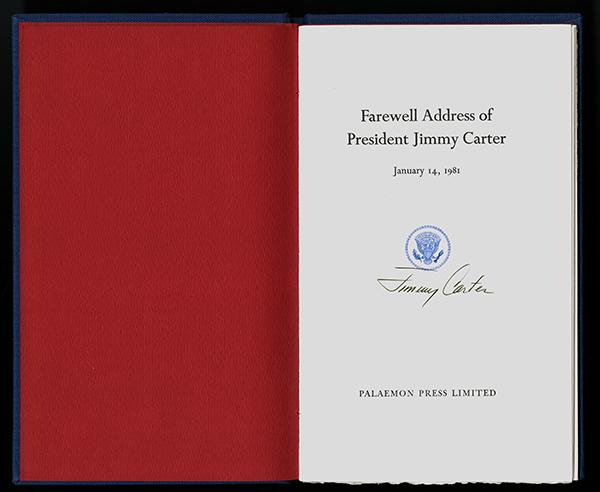 An image of&nbsp;<em>Farewell Address of President Jimmy Carter, January 14, 1981</em>
