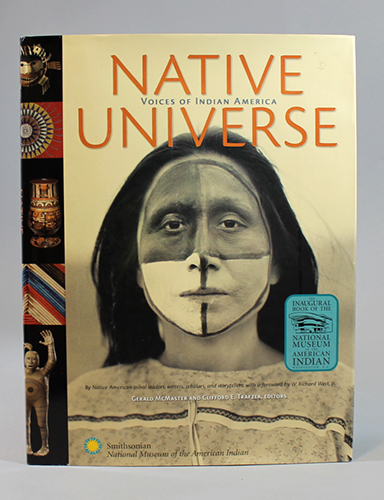 """<span id=""""docs-internal-guid-f989058c-23ac-1d6f-92be-00b8e3ff793f""""><span>An image of </span><em>Native Universe: Voices of Indian America</em><span> by Gerald McMaster</span></span>"""