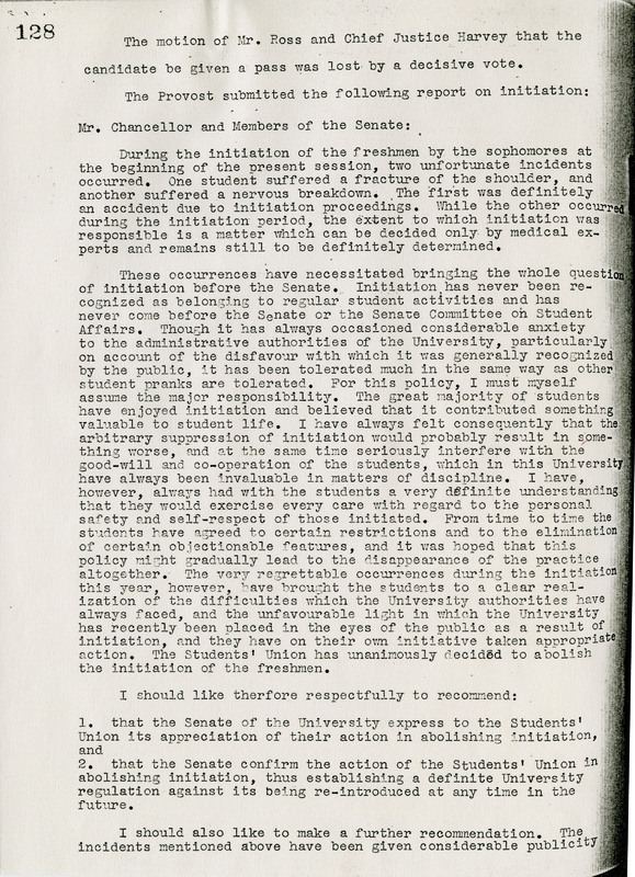Provost's Report on Initiation, 1933, Initiation - Powlett Case, Reference File, University of Alberta Archives