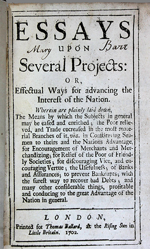 """<span id=""""docs-internal-guid-f989058c-2813-de8c-41fa-bc1b6e86885a""""><span>An image of </span><em>Essays Upon Several Projects, or, Effectual Ways for Advancing the Interest of the Nation</em><span> by Daniel Defoe</span></span>"""