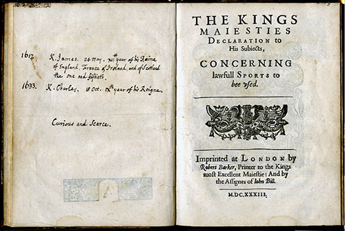 An image of <em>The Kings Majesties Declaration to His Subjects, Concerning Lawful Sports to Bee Used</em>