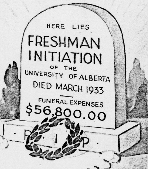 Evergreen and Gold, 1934, p.189. Drawing of a tombstone erected in the quad by unknown persons after the trial verdict was announced.