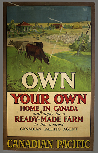"""<span id=""""docs-internal-guid-f989058c-237a-2bd4-ace8-6d6a0e1e4a49""""><span>An image of </span><em>Own Your Own Home in Canada and Apply for a Ready-Made Farm to the Nearest Canadian Pacific Agent</em><span> by Canadian Pacific Railway</span></span>"""