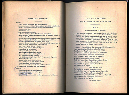 An image of <em>Laura Secord, the Heroine of 1812, a Drama, and Other Poems</em> by Sarah Anne Curzon