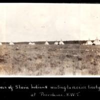 Tepees of the Slavie First Nation Awaiting Treaty Money