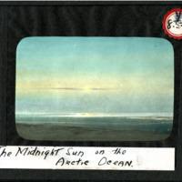 Magic Lantern Slide - Midnight Sun on the Arctic Ocean