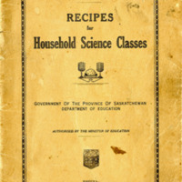 Recipes for Household Science Classes