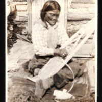 First Nations Woman Making Snowshoes (Close View)