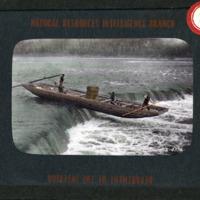 Magic Lantern Slide - Boat Navigating Waterfall